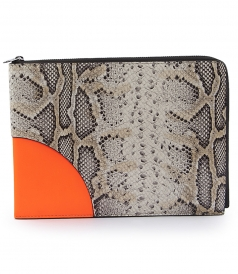 COLOR-BLOCKED ANIMAL PRINTED LEATHER POUCH