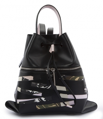 KENZO - BAG HAS BACK LEATHER BACKPACK WITH CAMOUFLAGE DETAILING