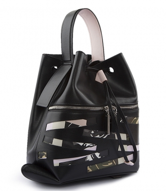 BAG HAS BACK LEATHER BACKPACK WITH CAMOUFLAGE DETAILING
