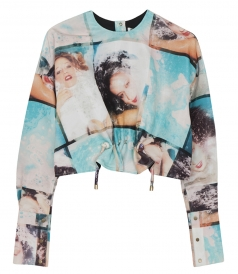 CLOTHES - LONG SLEEVE CROPPED OVERSIZED PRINTED TOP WITH GATHERED FRONT