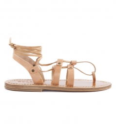 SHOES - ACHILLE ANKLE TIED FLAT SANDALS