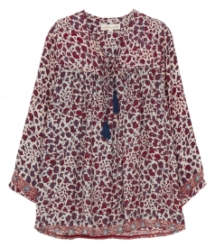 SUE FLORAL  PRINTED  LONG SLEEVE SHIRT IN SILK