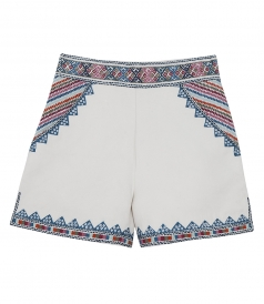 ZOYA  HIGH WAIST SHORTS FT MULTICOLORED EMBROIDERY