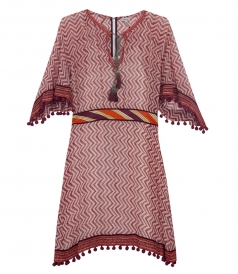 SALES - ZIG ZAG PRINTED MIDI DRESS FT POINTED SLEEVES