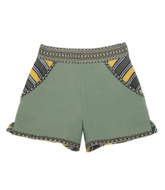 MASAI TAILORED SHORTS FT MULTICOLORED ETHNIC EMBROIDERY