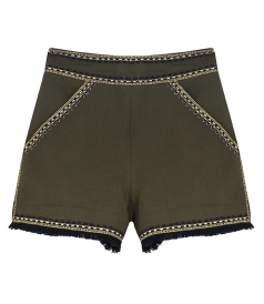TAILORED SHORTS WITH FRINGED HEM & EMBROIDERED DETAILING
