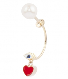 MICRO EYE AND HEART STUDDED  SINGLE EARRING