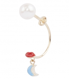 ACCESSORIES - MICRO LIPS & MOON STUDDED SINGLE EARRING