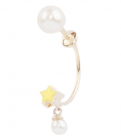 MICRO STAR & PEARL STUDDED SINGLE EARRING