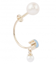 ACCESSORIES - MICRO MOON & PEARL STUDDED SINGLE EARRING