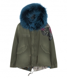 PRINTED SALINE CANVAS MINI PARKA WITH FUR