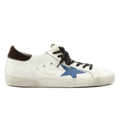 SHOES - WHITE LEATHER SNEAKERS SUPERSTAR WITH BLUE STAR PATCH