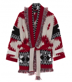 FRINGED JACQUARD-KNIT CASHMERE OVERSIZED CARDIGAN IN RED PATTERN