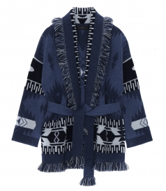 FRINGED JACQUARED-KNIT OVERSIZED CASHMERE CARDIGAN IN BLUE