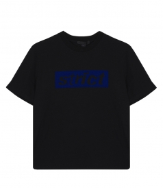 BOXY CREW NECK T-SHIRT WITH STRICT PATCH IN BLACK