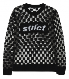 CHECKERBOARD BURNOUT PULLOVER WITH INTARSIA STRICT GRAPHIC