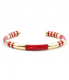 POSITANO VERMILLON STRIPED BANGLE