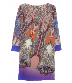MULTICOLOR SILK ABSTRACT PRINT SHIFT DRESS