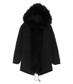 ZARINA COTTON CANVAS & FUR PARKA