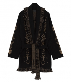 GEOMETRIC CASHMERE OVERSIZED CARDIGAN IN BLACK
