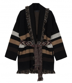 FRINGED JACQUARED-KNIT STRIPED OVERSIZED CASHMERE CARDIGAN