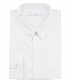 SILVER STARS ON COLLAR SLIM FIT SHIRT