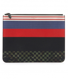 CONTRAST PATTERN ZIPPED POUCH