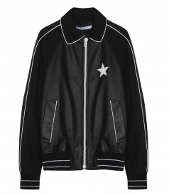 BLACK BOMBER JACKET IN LEATHER