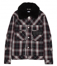 TARTAN CHECK JACKET WITH SHEARLING COLLAR