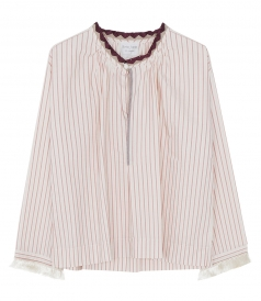 SALES - STRIPE BLOUSE FT FRINGE CUFF SLEEVES