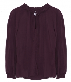 SAMANTHA RAYON CHALLIS PEASANT TIE TOP IN PLUM