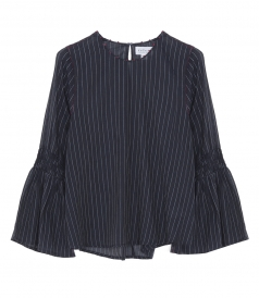 CHAN TRUMPET SLEEVE STRIPE BLOUSE