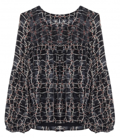 JEWEL ZURICH PRINT CHIFFON BEADED TOP