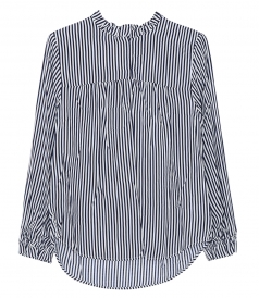 MARYSUE VERTICAL STRIPE MOCK NECK TOP