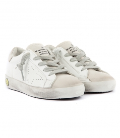 GOLDEN GOOSE  - SUPER STAR WHITE SNEAKERS