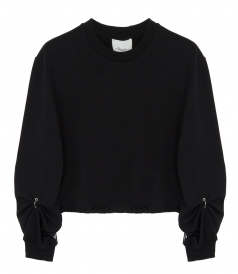 3.1 PHILLIP LIM - RUCHED PIERCED LONG SLEEVE SWEATER