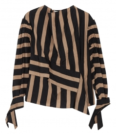 STRIPED DRAPED NECK TOP