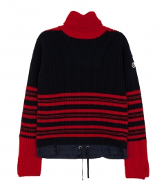 ROLL NECK STRIPED KNIT JUMPER