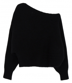 CHUNKY MOHAIR MARL ONE SHOULDER SWEATER