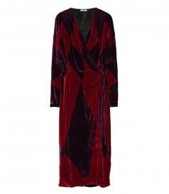 CLOTHES - VELVET ROBE DRESS WITH GEOMETRIC RHOMBUS PATCHWORK