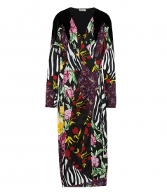 CLOTHES - SILK SATIN PATCHWORK ROBE DRESS