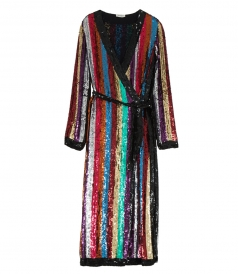 ALL OVER STRIPED SEQUINS DRESS
