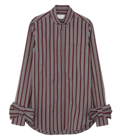 BOW CUFF STRIPED SHIRT
