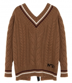 STRIPE DETAILED V NECK KNITTED JUMPER