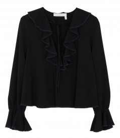 TIED NECKLINE FRILLED BLOUSE