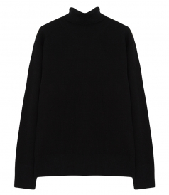 SIMON ROLL-NECK KNITTED SWEATER IN BLACK