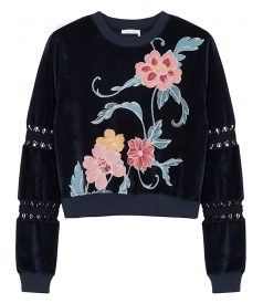 VELVET CUT OUT FLORAL SWEATSHIRT