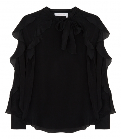 SILK BLEND RUFFLED NECK BOW BLOUSE