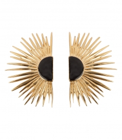 DUCHESSE CLIP EARRINGS FT BLACK ENAMEL FINISH