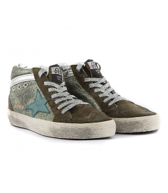 HIGH TOP - MID STAR SNEAKERS FT GREEN GLITTER STAR
